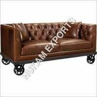 Industrial Leather Sofa with Wheel