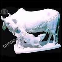 White Cow And Calf Statue