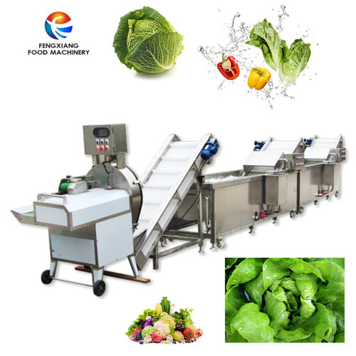 Leaf vegetable washing cutting line