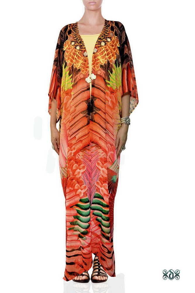 Digital Print Long Georgette Kimono Jacket
