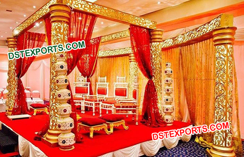 Square Golden Carved Wedding Mandap