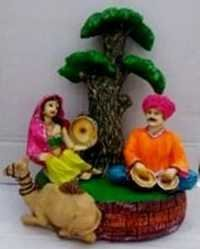 Rajasthani Couple Resin Statue