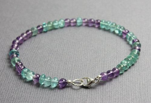 Amethyst and Appatite Gemstone Bead Bracelets