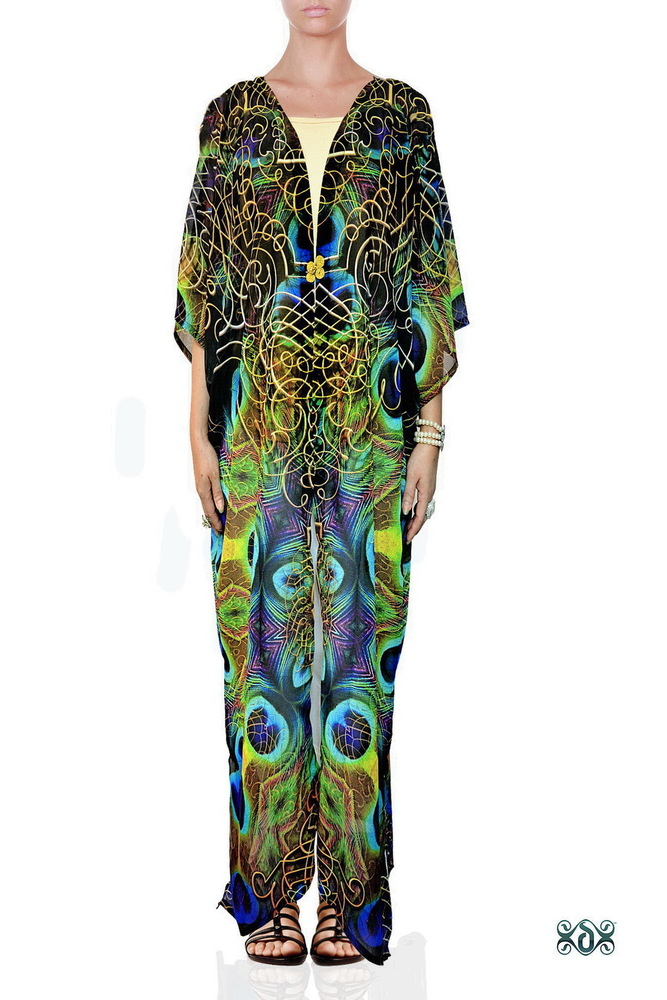Digital Print Designer Beachwear Long Kimono Jacket