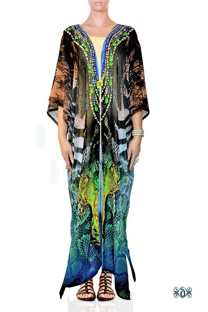 Digital Print Plus Size Long Kimono Jacket