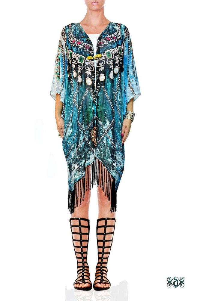 Digital Print Fringes Short Kimono Jacket