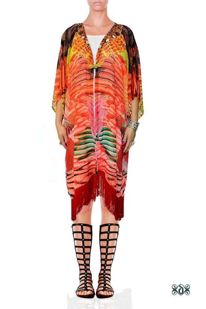 Digital Print Short Georgette Kimono Jacket
