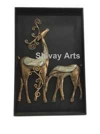 Iron & Wood Deer Wall Decor Wall Hanging Wall Sculpture