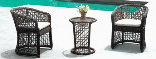 Cane Rattan Style Outdoor Wicker Coffee Set