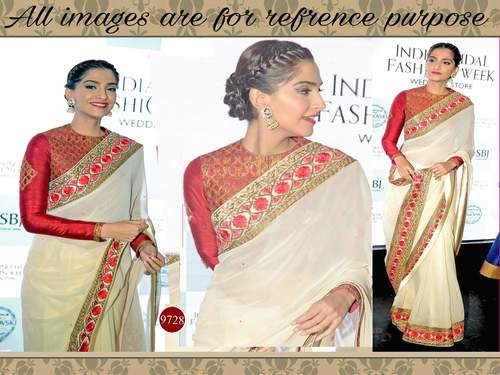 White Colour Fancy Bollywood Replica Saree