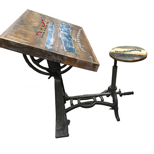 Adjustable Drafting Table with Stool