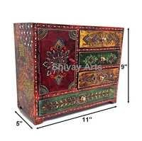 Wooden Fine Emboss Small Drawer Chest / Jewellery Organizer