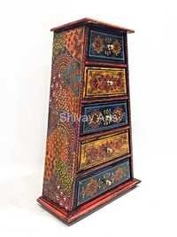 Wooden Fine Emboss Small Chest Of 3 Drawers / Jewellery Organiser