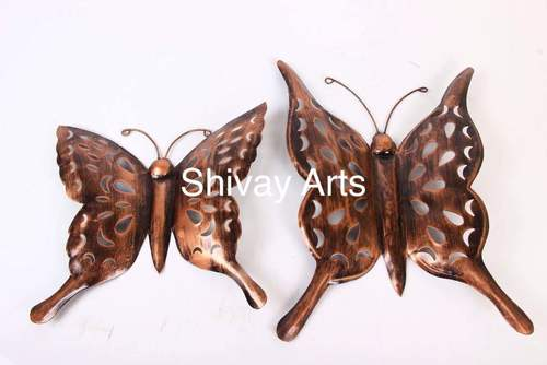 Metal Iron Butterfly Wall Decor Wall Hanging- Set of 2
