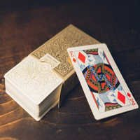 White & Gold 555 Marked Playing Cards LQ