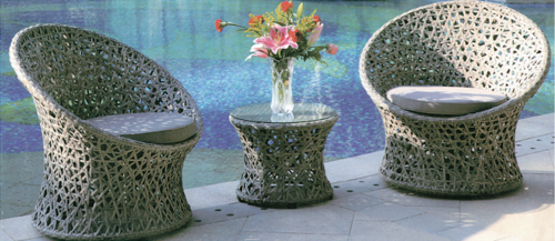 Basket Style Outdoor Wicker Coffee Set