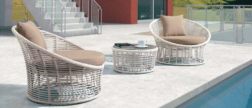 Rattan Finished Outdoor Coffee Set
