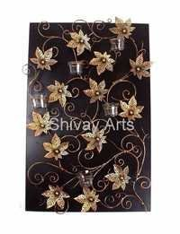 Metal Flower Floral Wall Decor Wall Hanging With Tealight Candle Holder