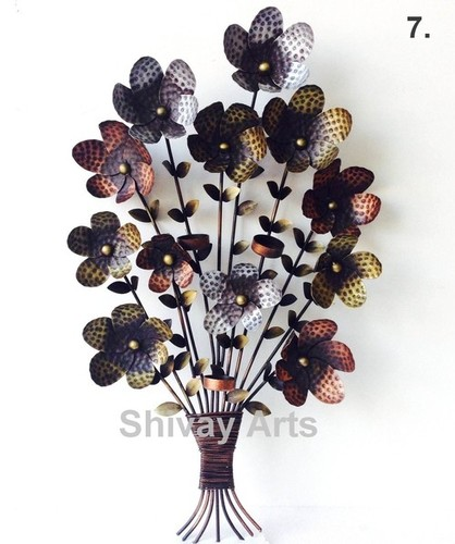 Metal Iron Handcrafted Flower Bouquet Wall Decor/Hanging
