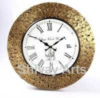 Handcrafted Beautiful Wooden & Brass Coin Wall Clock / Wall Decor / Wall Hanging