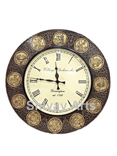 Handcrafted Beautiful Wooden & Brass Horoscope Wall Clock / Wall Decor / Wall Hanging