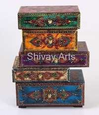 Wooden Fine Emboss Small Chest Of 5 Drawers / Jewellery Organiser