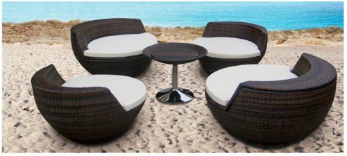 Baso Style Wicker Outdoor Coffee Set