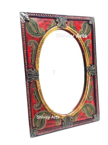 Wooden Handcrafted Fine Embossed Wall Mirror/ Decor / Hanging