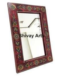 Wooden Handcrafted Fine Embossed Wall Mirror Wall Decor Wall Hanging