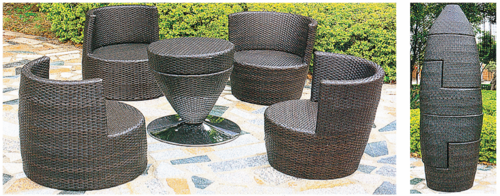 Compact Style 2 Wicker Outdoor Coffee Set