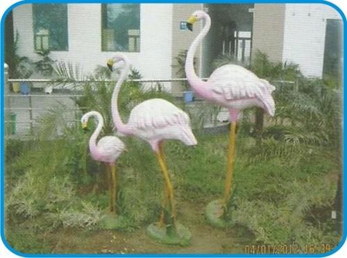 Flemingo Family Set of Three Piece Fiber Bird Figure