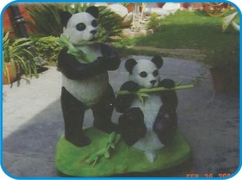 Panda Pair with Bamboo Fiber Animal Figure