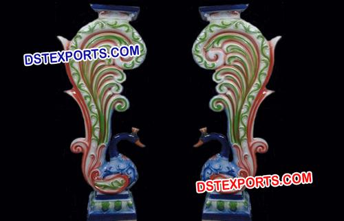Wedding Colourful Walkway Peacock Pillars