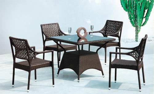 Ebony Style Wicker Outdoor Coffee Set