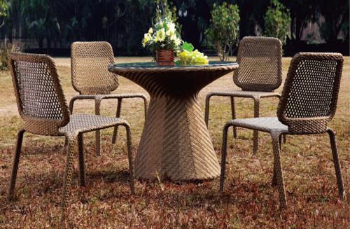 Woody Style Wicker Outdoor Coffee Set
