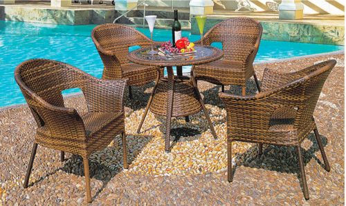 Tan Style Outdoor Wicker Coffee Set