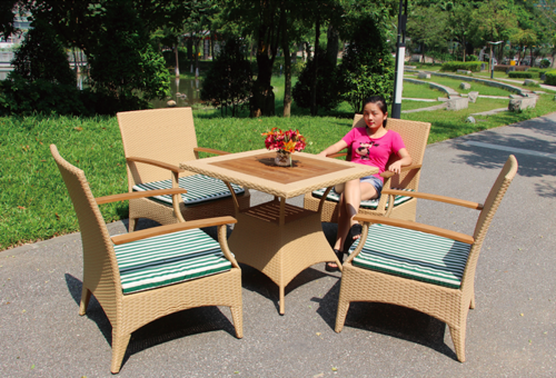 Long Style Outdoor Wicker Coffee Set