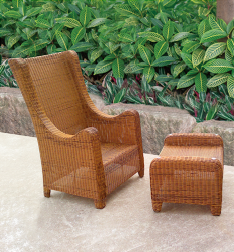 Wooden Style Wicker Day Lounger