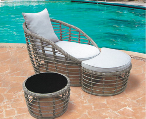 Cane Style Wicker Day Lounger