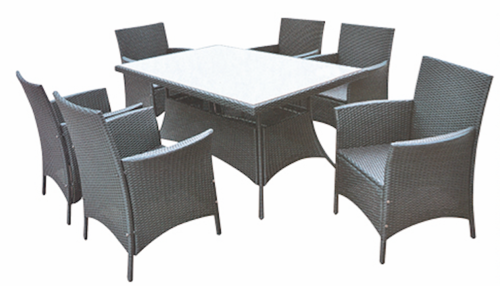 Sofa Style Outdoor Wicker Dining Table Set