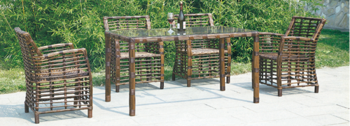 Cane Style Outdoor Wicker Dining Table Set