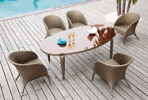 Cute Style Wicker Dining Table Set