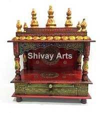 Wooden Fine Emboss Temple Mandir Pooja Ghar Mandapam Mandap For Worship