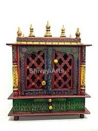Wooden Fine Emboss Temple Mandir Pooja Ghar Mandapam Mandap For Worship With Door