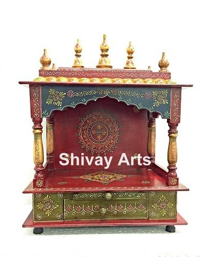 Wooden Fine Embossed Temple Mandir Pooja Ghar Mandapam for Worship