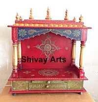 Wooden Fine Emboss Handcrafted Temple Mandir Pooja Ghar Mandapam For Worship