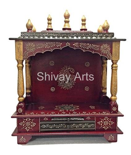 Wooden Handcrafted Temple Mandir Pooja Ghar Mandapam For Worship