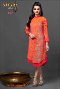 Orange Long Kurti Online