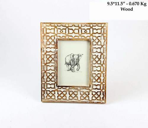Wooden Distress Photo Frame White Color