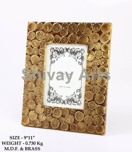 Wooden & Brass Coin Photo Frame